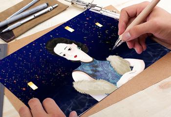 古典旗袍女人插画设计